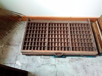 Vintage Wooden Printers Tray Letterpress Drawer 147 Compartments 32x17