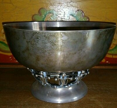 Large Antique Arts and Crafts Danish Jensen Style WOODSIDE NY STERLING LG BOWL