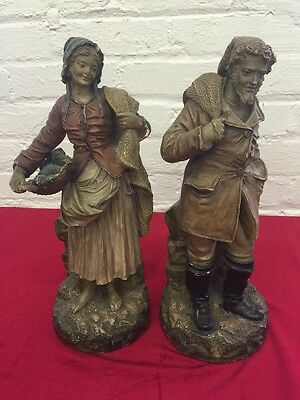 Vintage Chalkware Fisherman And Wife Statues 14 Inch Tall