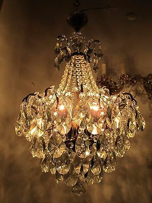 Antique Vnt French Spider Style Glass  Crystal Chandelier 1940s Rare