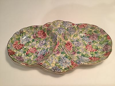 Vintage James Kent London Hydrangea Chintz Double Tray. Real Deal, Not a Reissue