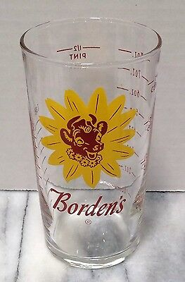 Vintage Borden's Measuring Glass Cup Elsie The Cow Dairy Advertising Milk
