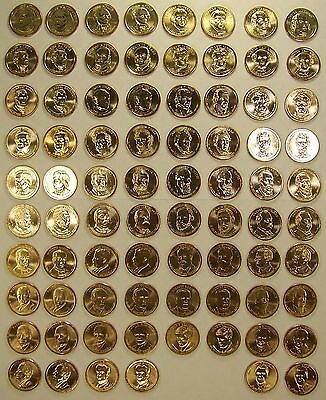 Complete P&D 78-Coin Set of Uncirculated US Presidential Dollar Coins