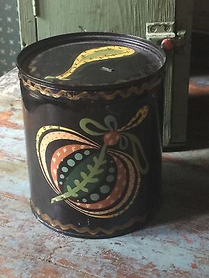 Primitive Antique Metal FOLK ART Tole Painted  Can - Country cabin box