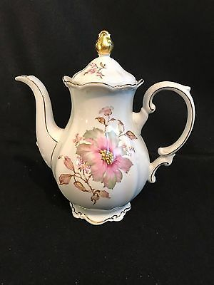 Vintage Mitterteich Porcelain Coffee Pot With Lid-Pink Dogwood Pattern-Germany
