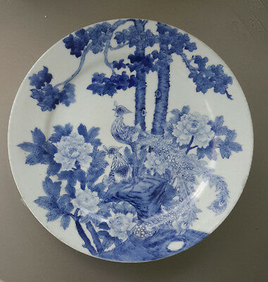 Chinese Export Blue White Peacock Plate Early 1900s (Cobalt)
