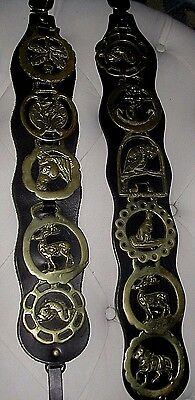 2 Vintage LEATHER STRAPS W/11 BRASS Horse Equestrian Harness Tack Medallions