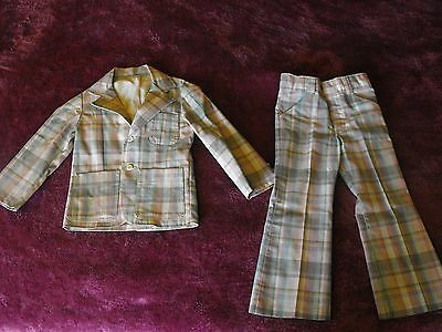 Vintage Childs plaid Suit boys size 5 1970s Spectacular near mint Billy the Kid