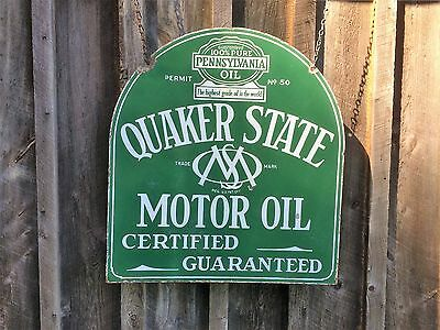 Antique Original Quaker State Oil Porcelain Advertising Sign Gas Station Can Tin