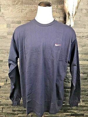 NEW VINTAGE NIKE US NAT. Embroidered Swoosh NAVY LONG SLEEVE SHIRT-SIZE XL SPORT
