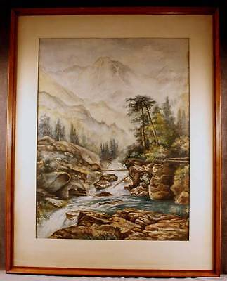 Vintage Large Watercolor Mountain of the Holy Cross Colorado in Original Frame