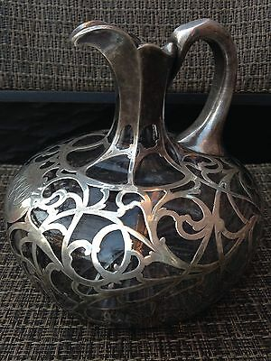 "Antique Alvin Art Nouveau Sterling Silver Overlay Cast Glass Decanter 6,5""H"