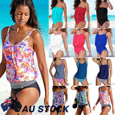 Women Push up Padded Tankini Bikini Set Swimwear Swimsuit Beach Bathing Suit