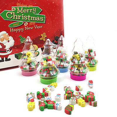 Child Mini Santa Christmas Gift Kids Rubber Eraser Stationery with tree Bottle