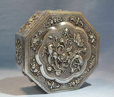 Antique Chinese Sterling Silver Dragon Bamboo Repousse Octagonal Box Circa 1900