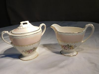 Homer Laughlin Eggshell Pink Arcadia Creamer and Sugar Bowl with Lid