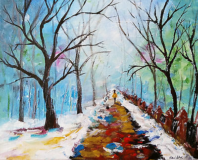 'Snow Lane' on Canvas - original acrylic painting abstract landscape artwork art