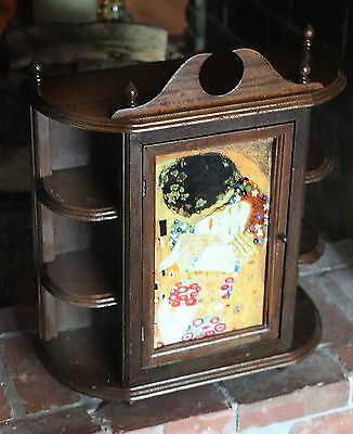 Vintage hanging spice rack, curio, apothecary cabinet, with Klimt, the Kiss door