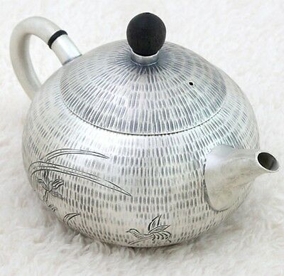 Silver Kettle Tea Oriental Orchid Pure Handmade Asian Plant Teapot