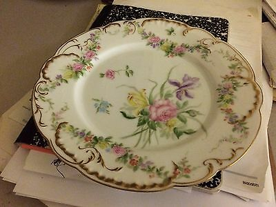 Haviland Limoges Hand Painted  Plate Swags of Roses Floral's Shell Edge Gold