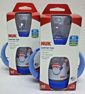 (2) NUK 5 Ounce Learner Cups, 6 mo +, BPA Free, Spill Proof, Removable Handles