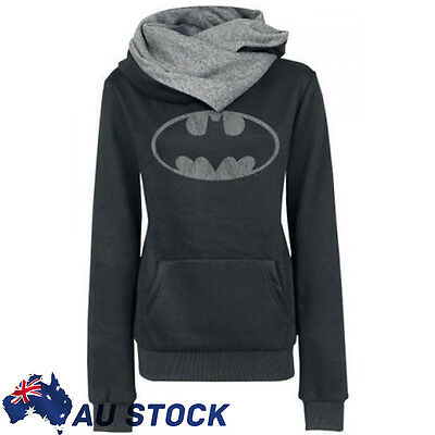 Womens Casual Batman Printed Long Sleeve Hoodie Sweater Sweatershirt Jumper Tops