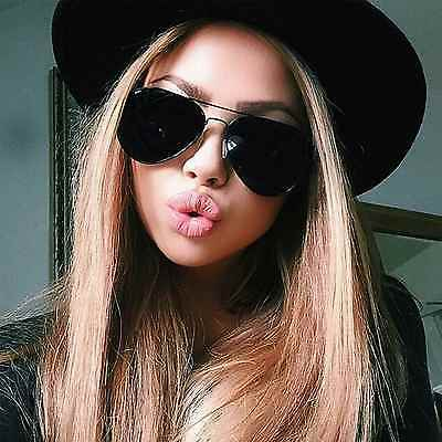Classic Aviator Men Women Sunglasses Metal Frame Dark Black Lens Retro Style