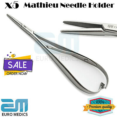 Set Of 5 Mathieu Slim Needle Holder Surgical Orthodontic Lab Ligature Pliers New
