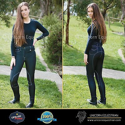 Ladies Jodhpur Breeches Stretchy Denim Women Riding Jeans Self Seat n Knee Patch