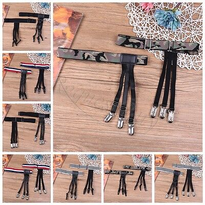 2pcs Mens Stays Holders Elastic Shirt Garter Non-Slip Locking Clamps Uniform