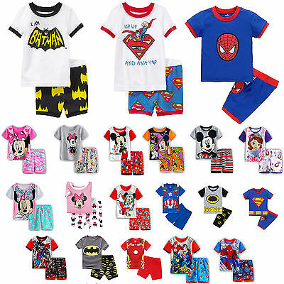 Kids Baby Boys Caroon Short Sleeve Tops Shorts Sleepwear Pyjamas Pjs Outfits Set