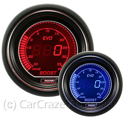 Prosport Evo Electrical Digital Boost Gauge 52mm - Blue / Red 216EVOBO-PSI