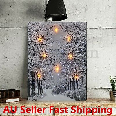 Framed LED Tree Snow Lighted Canvas Painting Print Home Wall Art Picture Decor