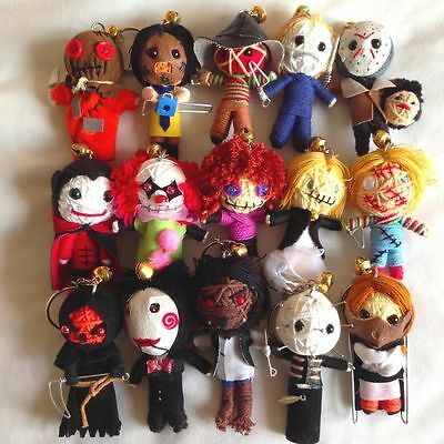 10 x Random Selection of Horror Movie Voodoo String Doll Keychain Keyring Lucky