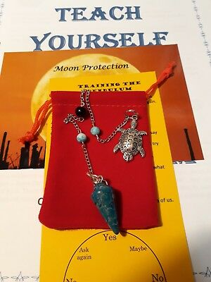 Blue Crazy Lace Pendulum Crystal Gemstone Turtle Charm Necklace & Booklet + More
