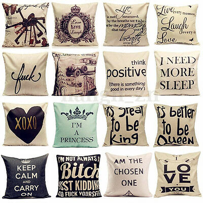 Vintage Funny Words Cotton Linen Throw Pillow Case Cushion Cover Home Sofa Decor