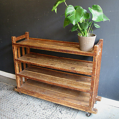 Vintage Industrial Wooden Bakers Kitchen Rack Shelving Unit Trolley Display