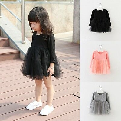 Infant Baby Girl Cotton Long Sleeve Dress Party Casual Lace Tutu Dress 0-4T