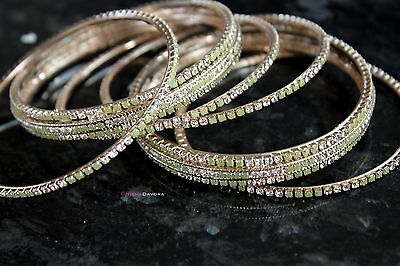 6 Piece Bangle Set Green Gold Plated