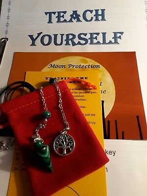 Malachite Pendulum Crystal Gemstone Tree Charm Necklace+ Extras & Booklet Wicca
