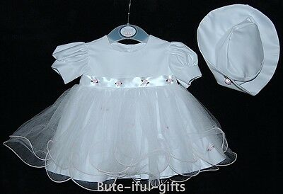 Baby Girls White/Pink Special Occasion Dress 12-18 18-24 Months