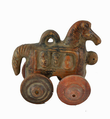 Ancient Greek Trojan Horse miniature Sculpture on wheels