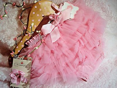 NWT 0-6 Months Girls Mud Pie Pink  Ruffle Diaper Cover with Hairbow