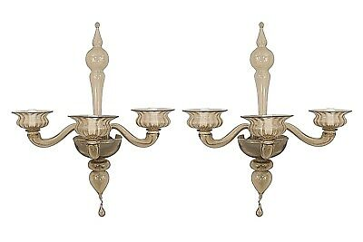 Pair of Italian 1940s Venetian Amber Glass 3 Fluted Scroll Arm Wall Sconces