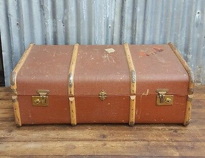 vintage antique wooden banded steamer trunk rustic decor display prop luggage