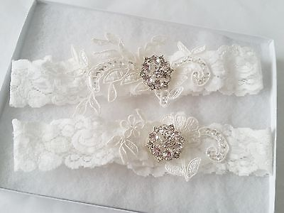 Wedding Bridal Garter -  OFF WHITE CRYSTAL WEDDING GARTER SET