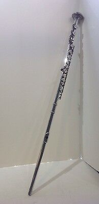 Walking stick cane Silvertone flute musical instrument silverplated antique