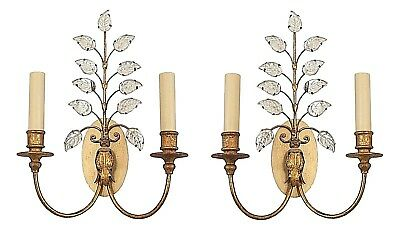 Pair of French 1940s Gilt Metal 2 Arm Wall Sconces