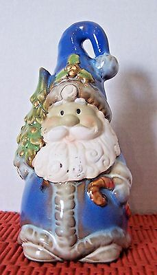 Dolgen Corporation Blue Ceramic Santa Bell 7""