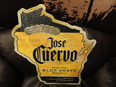 Jose Cuervo Tequila Wisconsin Shapped Tin Sign - Brand New
